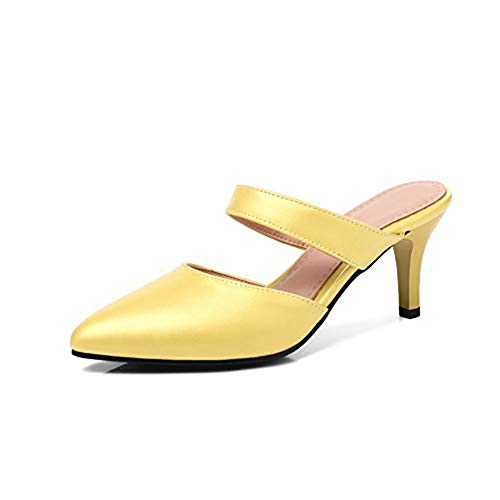 T-JULY Women's Fashion Heeled Slides Sandals Sexy Pointy Toe Stilettos Mules Clogs Slip on Dress Pumps Shoes Yellow ()
