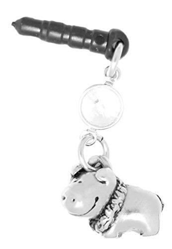 Clayvision Happy Hula Pig Boar Phone Charm with Swarovski Clear Crystal April Black Plug