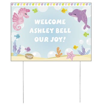 personalized under the sea girl yard sign baby shower baby shower yard signs