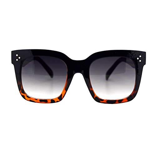 (Womens Oversized Fashion Sunglasses Big Flat Square Frame UV 400 Black Tortoise)