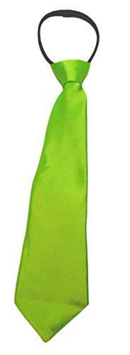 Roo Threads Boys 14 inch Zipper Necktie, Fluorescent Lime Green