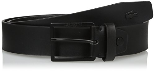 Lacoste Men's Classic Logo Embossed Buckle Belt, black, 85