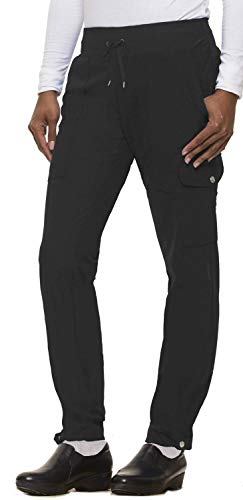healing hands HH360 Women's Nikki 9154 Button Cuff Yoga Waist Scrub Pant- Black- Large Tall