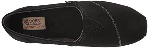 Ballet Skechers Women's Suede Plush Microfiber BOBS from Love Bobs Wonder Flat Black on W Slip Memory Foam rrgA6p