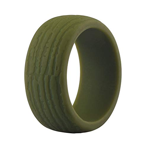 Silicone Wedding Ring Band for Men Single Mens Bark Texture Rubber Wedding Bands Rings 8.7mm Wide - Black, Iron-Grey, Coffee, Olive Green, Earth Tone (Iron Ring Engineer)