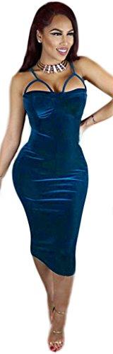 Party Spaghetti Blue Velvet Sleeveless Clubwear Midi Straps Bodycon Dress Elegant Women 1pqwORXq