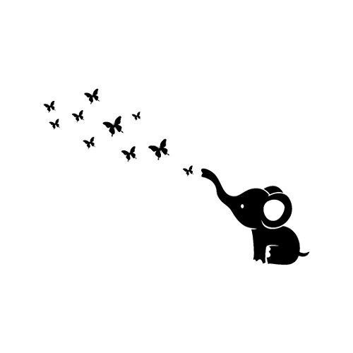 SanCanSn Wall Sticker, DIY Elephant Butterfly Wall Stickers Decals Children's Room Home Decoration Art (117cm x 78cm, White) -