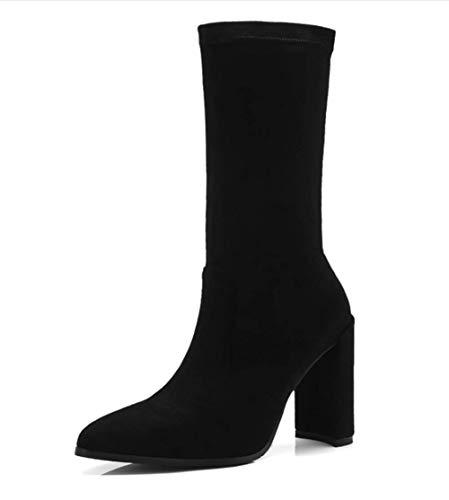 Autunno Grosso Da Inverno E Donna Nuovi Calzini Stivali Tacco Elastici Con Shiney Black 0PFxz5qw