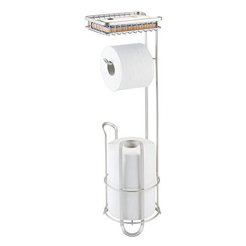 (mDesign Freestanding Metal Wire Toilet Paper Roll Holder Stand and Dispenser with Storage Shelf for Cell, Mobile Phone - Bathroom Storage Organization - Holds 3 Mega Rolls - Matte Stain)