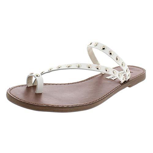 Steve Madden Womens Daria Leather Studded Flat Sandals White 9 Medium (B,M)