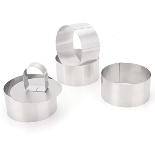 Ring Mold - Tebery 3-Inch Stainless Steel Cake Rings Cake Mousse Mold for Pastry Cake Mousse and Pancake - Set of 4 with 1 Pusher