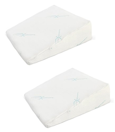 Xtreme Comforts 7 Memory Foam Bed Wedge Pillow, Hypoallergenic Breathable, Washable Bamboo Cover, Elevated Support Cushion, Acid Reflux, Lower Back Pain, Heartburn, Snoring (2 Pack)