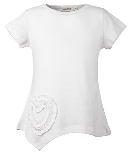 Ipuang Little Girls Heart Shaped Casual Cotton Cap Sleeve Tee T Shirt Top White 6