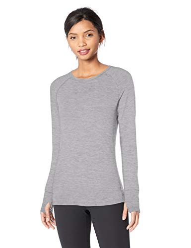 Womens Dye Tee - Amazon Essentials Women's Brushed Tech Stretch Long-Sleeve Crew, Grey Space dye, Large