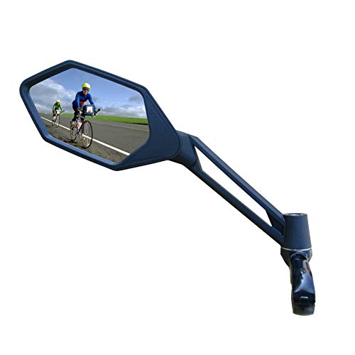 New Scratch Resistant Glass Lens,Handlebar Bike Mirror, Adjustable Safe Rearview Mirror, Bicycle Mirror (Blue Left Side) ME-005LB (Best Road Bike Glasses 2019)