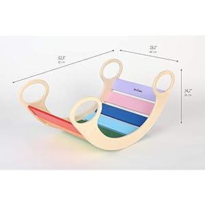 Child Rocking Chair, Wooden Rainbow Rocker,Wooden Rocking Play, Wooden Rocking Bed for Kid 0-5 Years, Indoor/Universal…