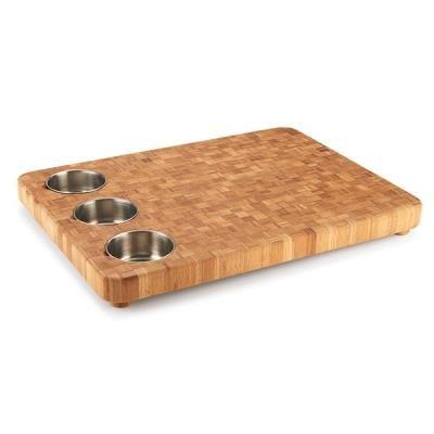 Parquet End Grain 3-Bowl Prep Cutting Board 22in x 16.5in x 1.5in