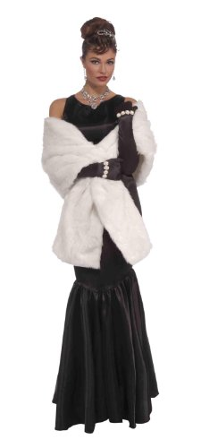 Coat Costumes (Forum Novelties Vintage Hollywood Faux Mink Stole, White, One Size)