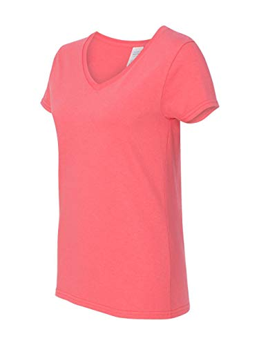 (Gildan Heavy CottonTM Ladies' 5.3 oz. V-Neck T-Shirt, XL, CORAL SILK )