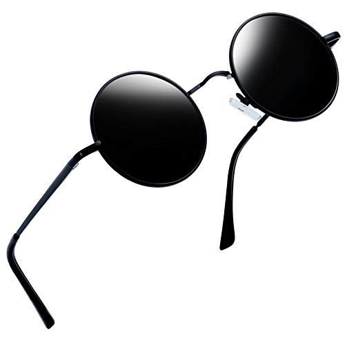 Joopin-Round Retro Polaroid Sunglasses Driving Polarized Glasses Men