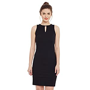 Miss Chase Women's Super Comfortable Black Solid Sleeveless Round Neck Mini Bodycon Dress with Zip Closure