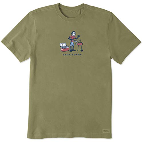 Life is Good Mens Jake Grillin Graphic T-Shirt,Fatigue - Vintage Life