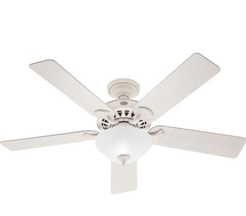 Hunter 53173 The Sonora 52-Inch French Vanilla Ceiling Fan with Five French Vanilla/Bleached Oak Blades and Bowl Light ()