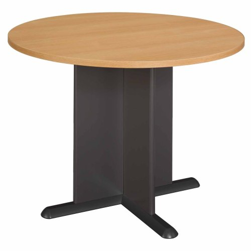 Bush Business Furniture 42 Inch Round Conference Table, Light Oak with Graphite Gray by Bush Business Furniture