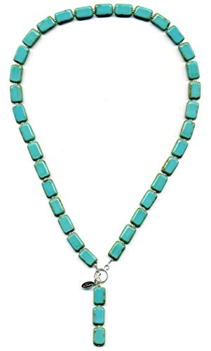 (Turquoise Glass Beaded Necklace, Pendant Y-Shaped for Women with Colorful Rectangle Tiles, 18
