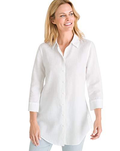 Chico's Women's No-Iron Linen Side-Button Tunic Size 12 L (2) - Cotton Woven Linen