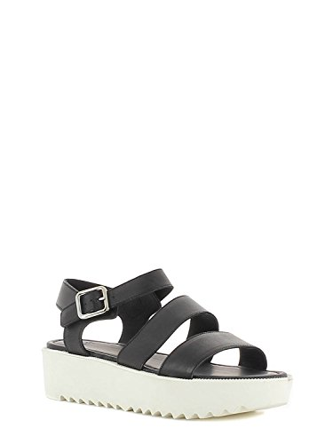 FRAU woman sandals wedge 92N3 NERO-BIANCO