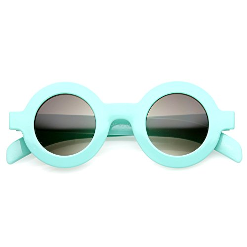 zeroUV - Retro Fashion Bold Frame Horned Rim Round Circle Sunglasses (Blue / - Sunglasses Circle Rim