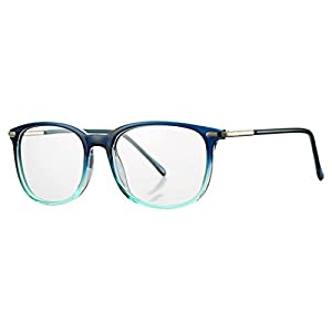 COASION Non-prescription Horn Rimmed Clear Lens Hipster Eye Glasses Frame Metal Temple OpticaL Eyewear (Blue, 52mm)