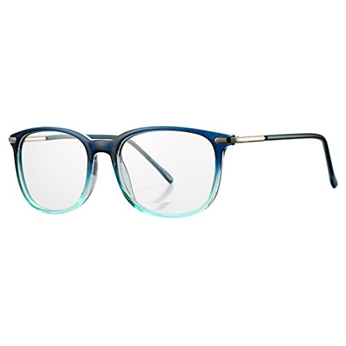 COASION Non-prescription Horn Rimmed Clear Lens Hipster Eye Glasses Frame Metal Temple OpticaL Eyewear (Blue, - Glasses Blue Hipster