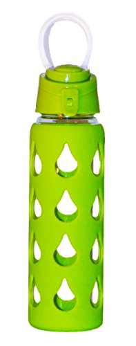 Fresh Taste Wide Mouth Glass Water Bottle, Protective Silicone Sleeve for Easy Gripping, Screw on Flip Top Cap, Leak Proof Seal, BPA Free, 22 oz, Lime Green