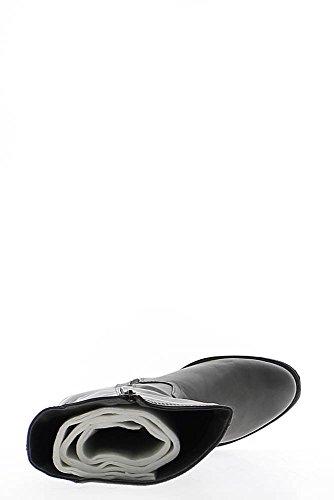 Grigio stivali con tacco quadrato di pelle 4cm