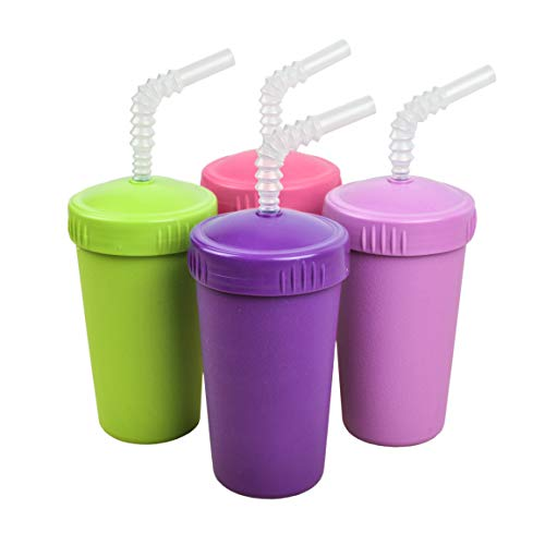 Re-Play Made in The USA 4pk Straw Cups for Baby, Toddler, and Child Feeding - Purple, Bright Pink, Lime, Amethyst(Butterfly+)