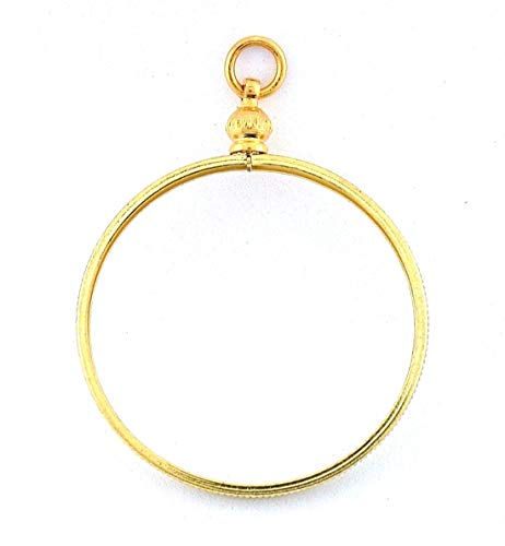 39MM ONE OUNCE ROUND GOLD COLOR COIN HOLDER PENDANT MOUNTING MOUNT FINDING CF931