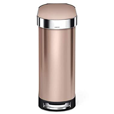 simplehuman Slim Step Trash Can with Liner Rim, Rose Gold Stainless Steel, 45 L/12 Gal
