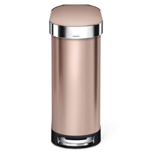simplehuman 45 Liter / 12 Gallon Slim Kitchen Step Liner Rim, Rose Gold Stainless Steel trash - Kitchen Roses