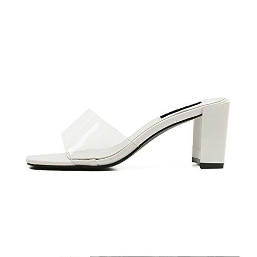 Good-memories Women Sandals Open Square Toe Chunky Heel Transparent PVC Black White Mid Heeled Sandals Slippers,White,8