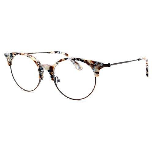 TIJN Women Cateye Eyeglasses Frame Semi-rimless Glasses (Sunglassses Cheap)