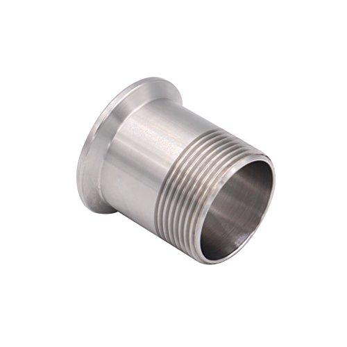 Dernord Sanitary Male Threaded Pipe Fitting to 1.5 INCH (OD 50.5mm Ferrule) TRI CLAMP (Pipe Size: 1.25