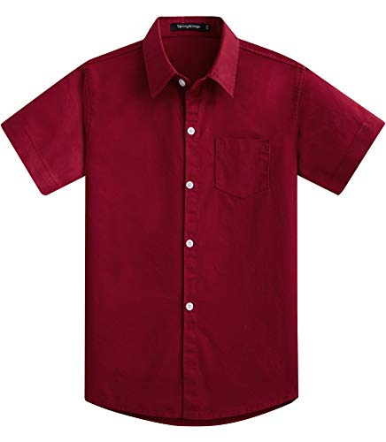 Spring&Gege Boys' Short Sleeve Solid Formal Cotton Twill Dress Shirts Burgundy 3-4 Years