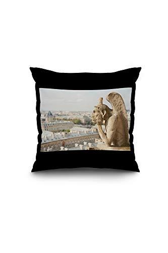 Lantern Press Gargoyle on Notre Dame, France Photography A-91332 (16x16 Spun Polyester Pillow, Black Border)