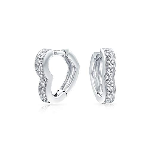 (Cubic Zirconia Pave CZ Heart Shaped Hoop Huggie Earrings For Women For Girlfriend 925 Sterling Silver)
