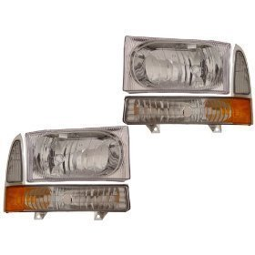 Super Duty/Excursion Euro Headlights 4 Piece Set Driver/Passenger Side by Headlights Depot