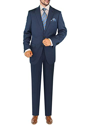 (DTI GV Executive Men's 2 Button Italian Wool Suit Set Faint Herringbone 2 Piece (50 Long US / 60L EU/W 44