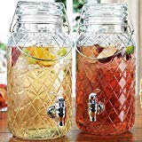 Home Essentials Elegant Glass Twin Beverage Dispenser with with Locking Clamp & Acrylic Spigot -Two Dispensers 1 Gallon Each (Diamond Pattern Twin Jugs), Diamond Twin Jugs- 1 Gallon Each