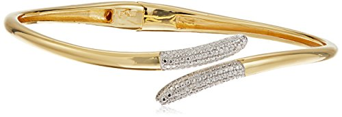 18k Yellow Gold Plated Sterling Silver Two Tone Diamond Accent and Illusion Hinged Cuff Bracelet, 7.25